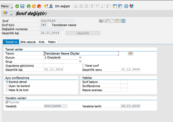 SAP Sınıflandırma Özelliği