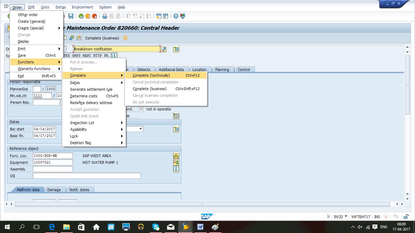 SAP Bakım Modülünde Arıza Bakım Süreci