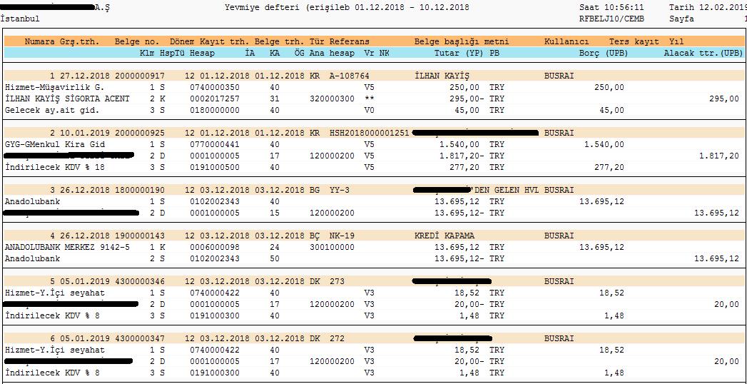 S_alr_87012287 raporunu düzenleme