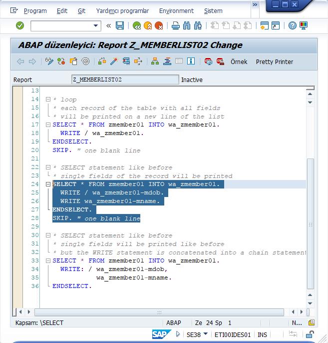 ABAP Programının Kopyalanması