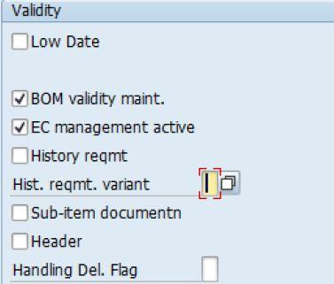 BOM Configuration: BOM Modification Parameters - SAP