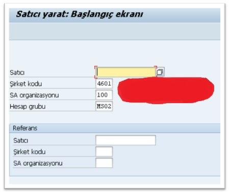 SAP Sisteminde Satıcı Yaratma