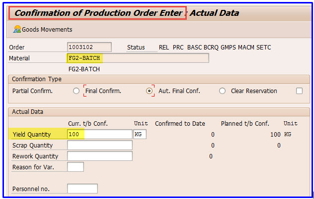 Batch Determination of components in the Production Order in S/4 1709
