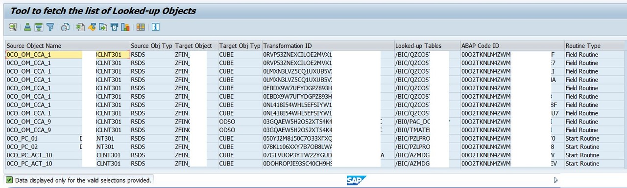 Tool to list down the Looked-up Tables in any Transformation in SAP BI