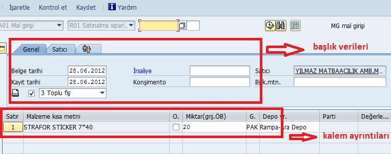 SAP Sisteminde Mal Girişi (MIGO)