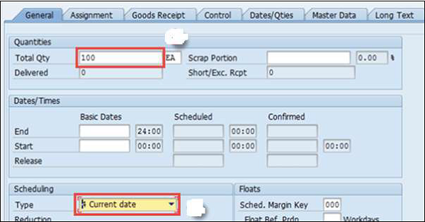 SAP PP - Production Orders