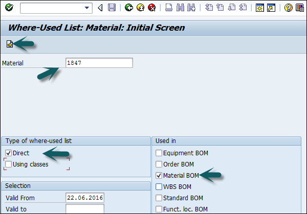 SAP PP - List in Bill of Material