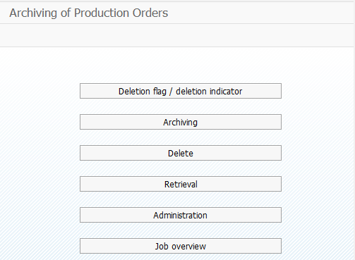 Archiving And Deletion Of Production Order
