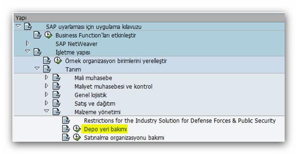 SAP Sisteminde Depo Yeri Tanımlama