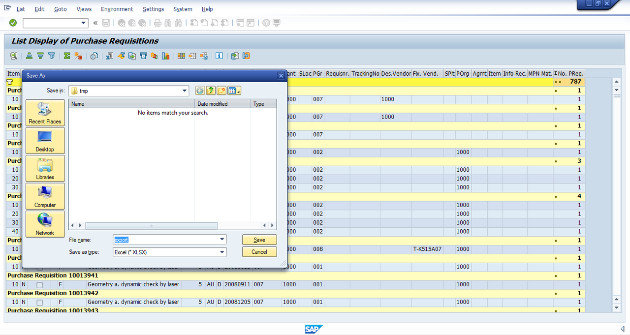 Sap Purchase Requisition Report - SAP Modulleri Kullanici